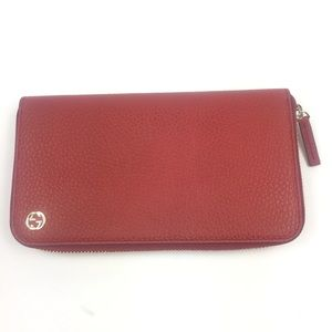 Gucci #449347 GG Logo Red Leather Zip Wallet